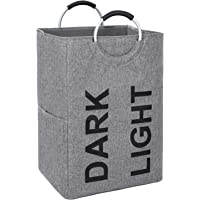 DOKEHOM 105L X-Large Linen Double Laundry Hamper, Collapsible Washing Basket, Foldable Clothes Bag - Durable and Easy to Clean (Dark Grey, XL)