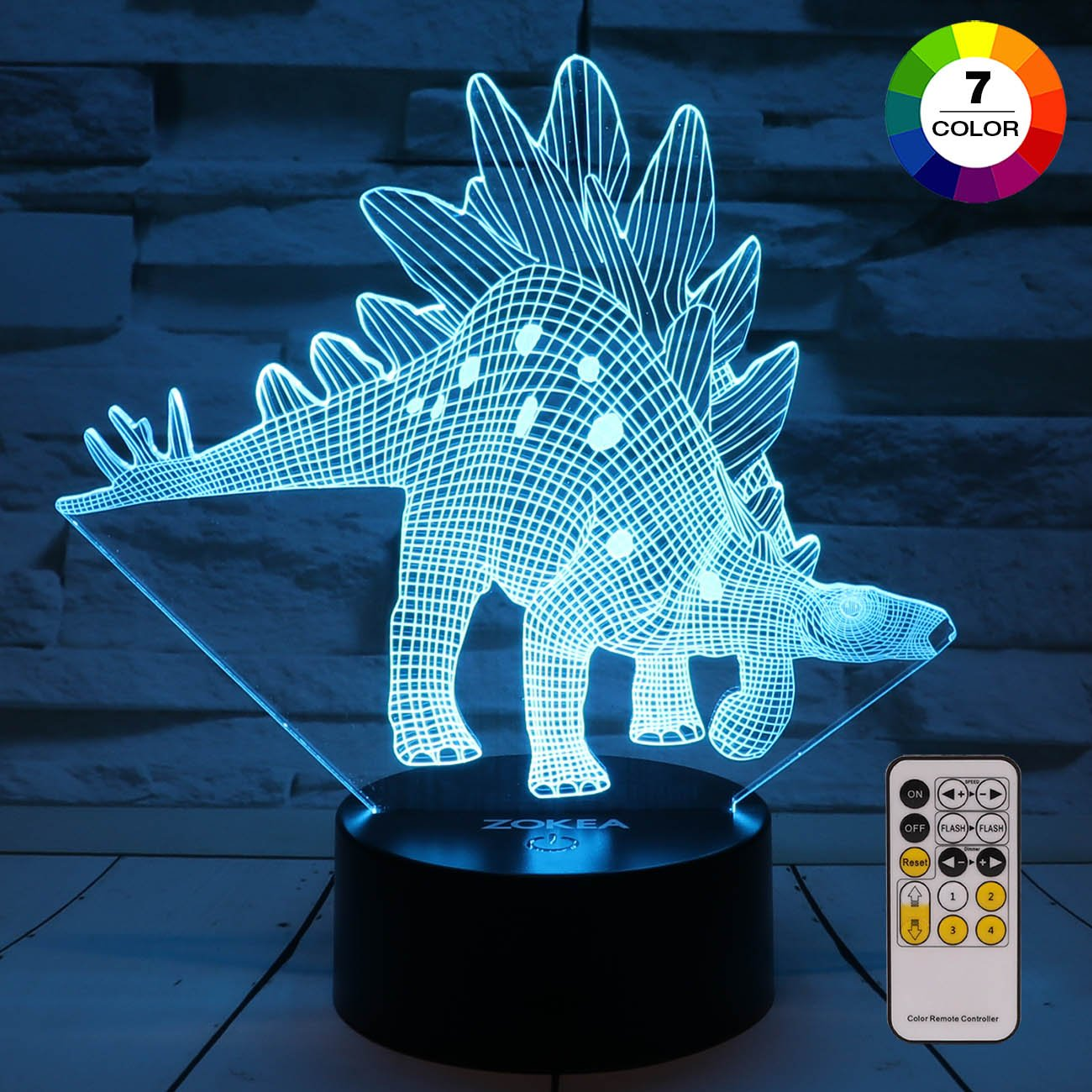 ZOKEA Night Light 3D lamp 7 Colors Changing LED Nightlight with Smart Touch & Remote Control 3D Night Lights for Kids or as Gifts for Women Kids Girls Boys (Dinosaur Stegosaurus)