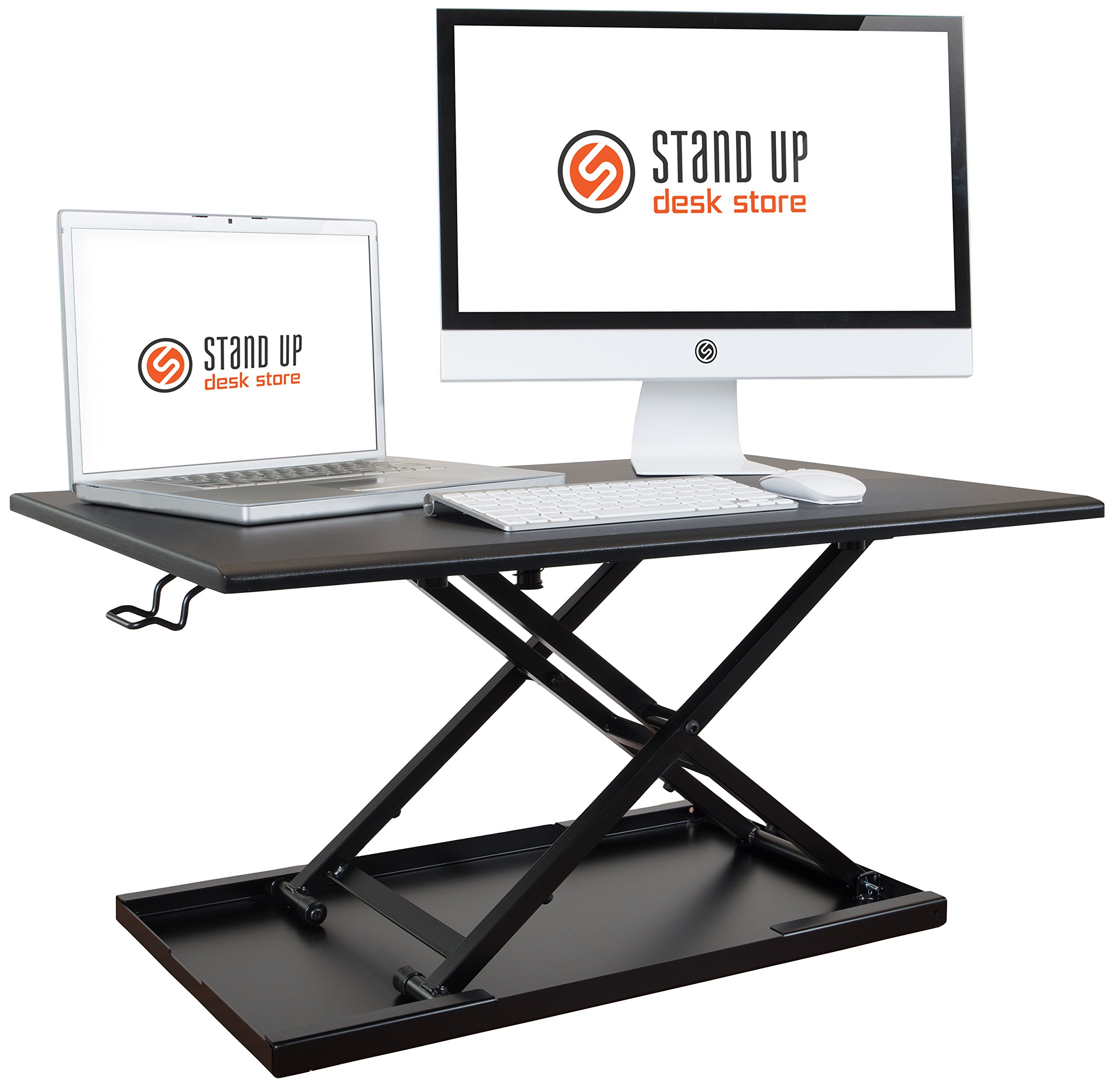 Stand Up Desk Store Air Rise Standing Desk Converter Sit to Stand with your current Desk in Seconds, 32'' L, Black