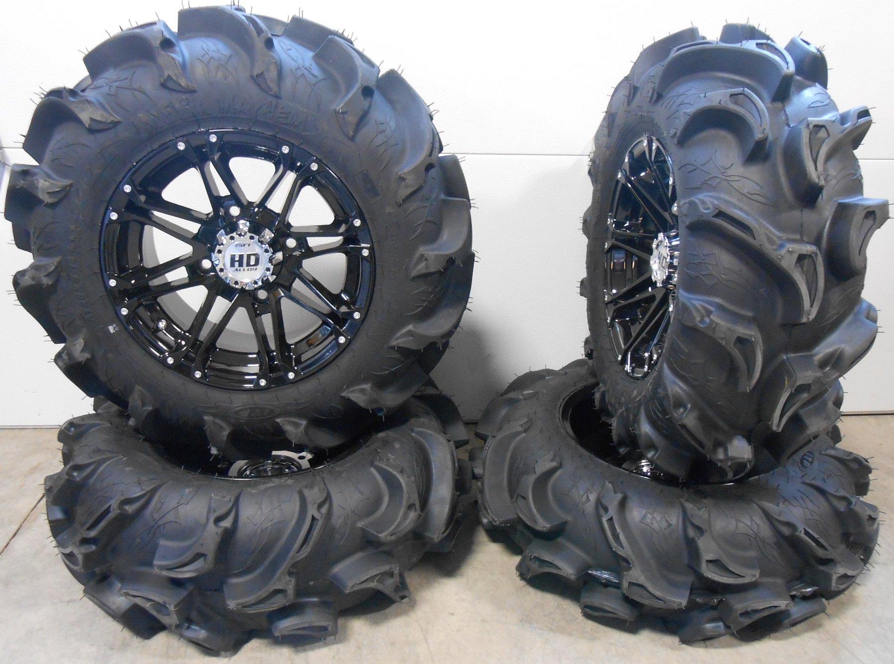 Bundle - 9 Items: STI HD3 14'' Wheels Black 28'' Mega Mayhem Tires [4x156 Bolt Pattern 3/8x24 Lug Kit]