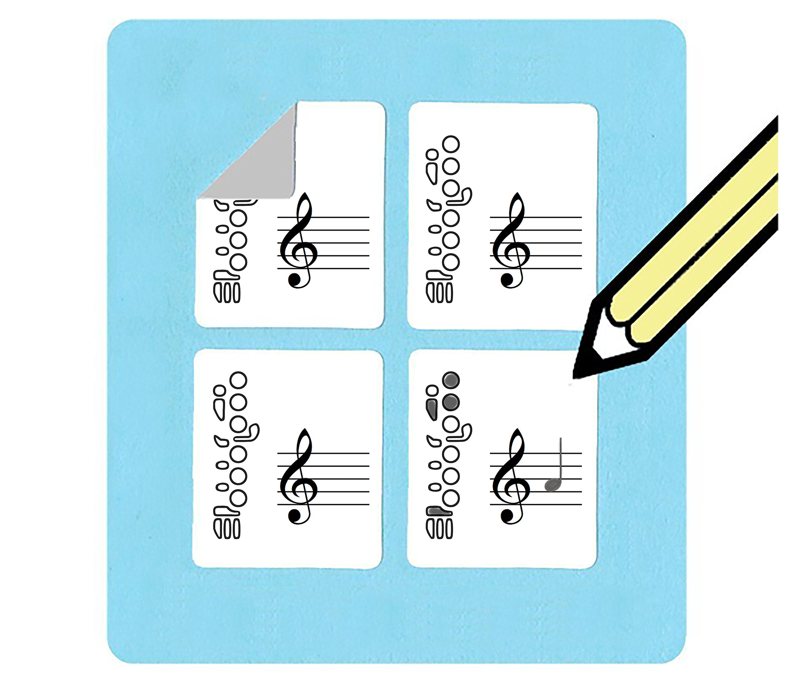 Flute Fingering and Staff Stickers (120 handy stickers) Great for beginners and teachers!