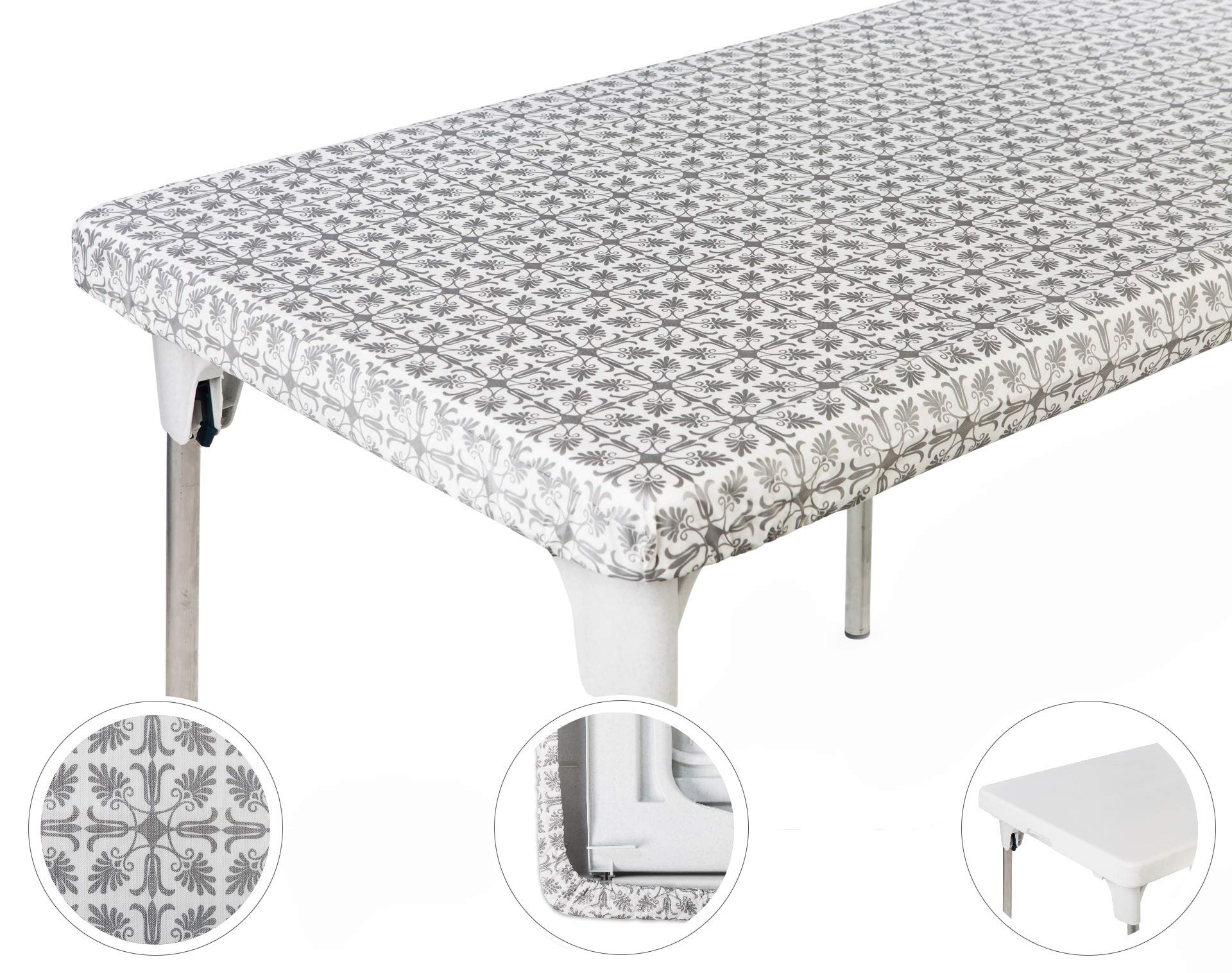 TopTableCloth Table Cover Silver Patterned Elastic on the corner for folding table 6ft (30'' x 72'') Waterproof Elastic Edge Fitted Stay put Table Cloth for Travel, Christmas, Picnics, Parties & Outdoor