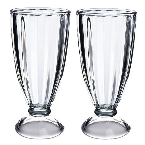 VonShef Milkshake Ice Cream Glasses American Style Set of 2 - 12oz ...