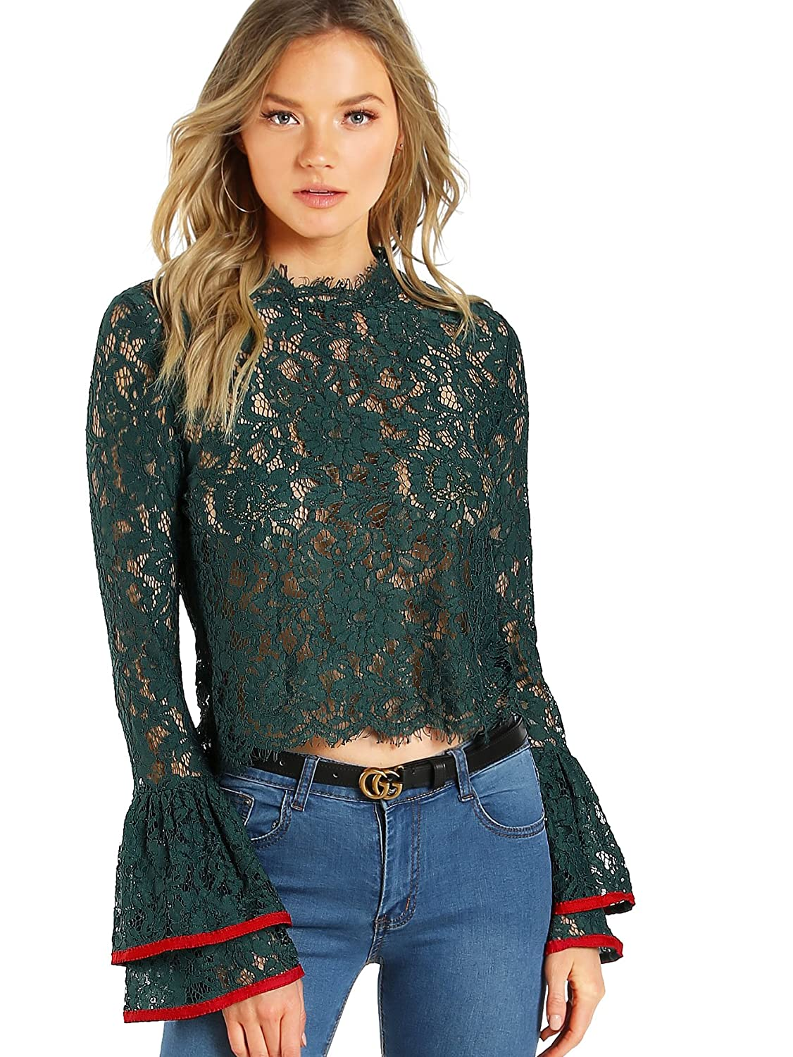 Floerns Women's Bell Sleeve See Through Sheer Lace Blouse Crop Top