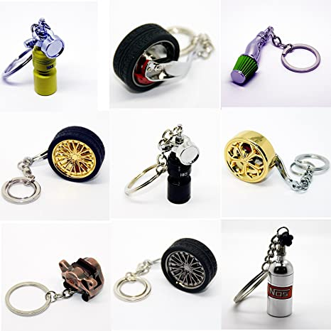 Llavero de lujo de metal, diseño de llanta, cilindro de ...
