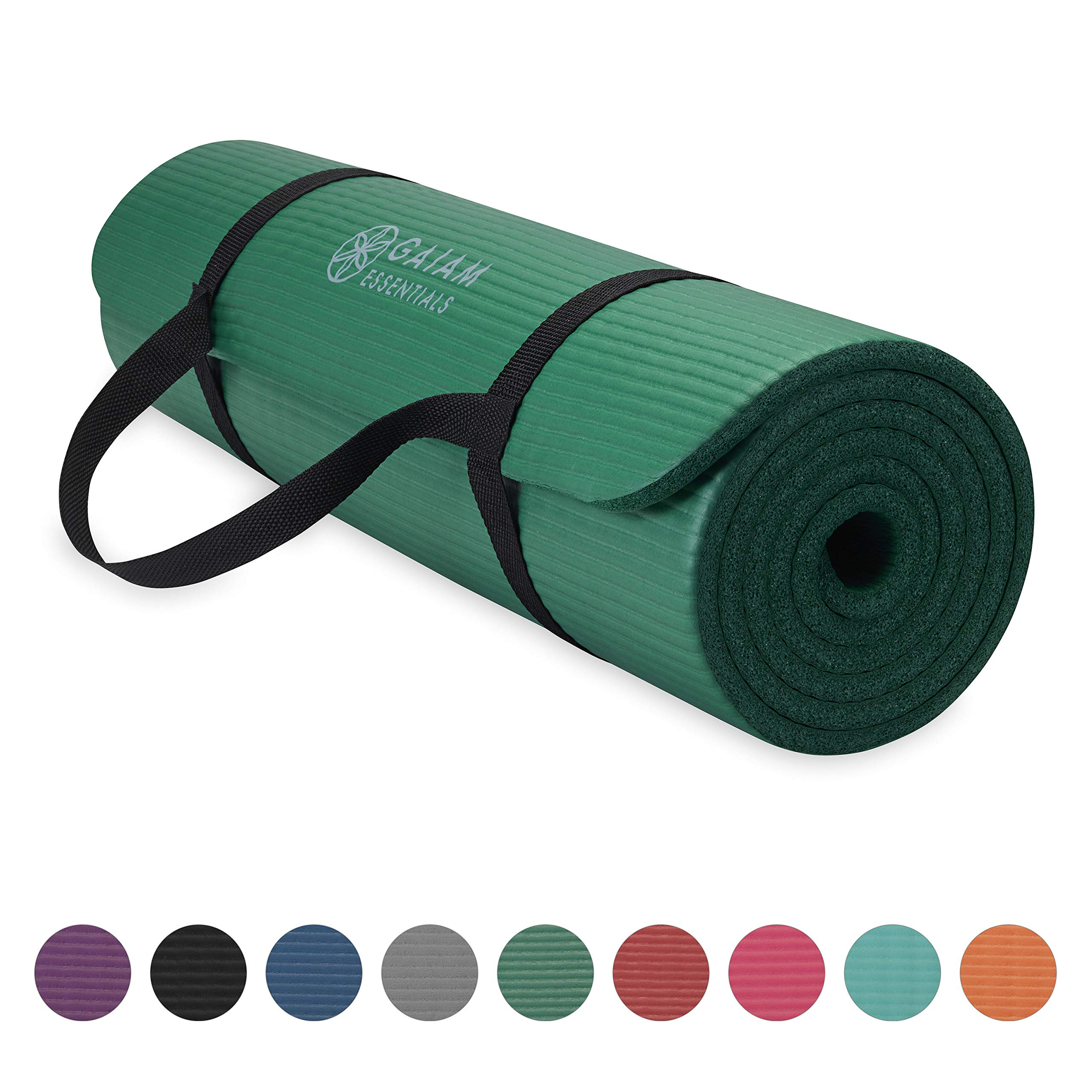 Gaiam Essentials Thick Yoga Mat Fitness & Exercise Mat with Easy-Cinch Yoga Mat Carrier Strap, Green, 72''L x 24''W x 2/5 Inch Thick