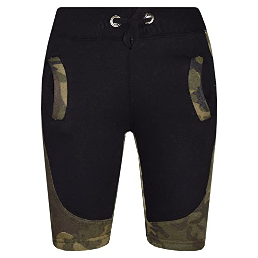 3d8effcd36232 A2Z® Kids Girls Boys Fleece Camouflage Green Panel Chino Shorts Half Pants  5-13