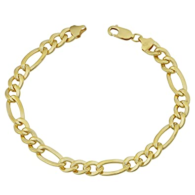 8f0ee5f88 Image Unavailable. Image not available for. Color: Kooljewelry Mens 14k  Yellow Gold Filled Solid High Polish Figaro Link Bracelet ...