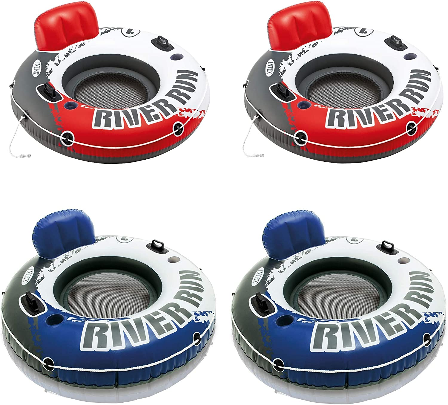 """2 Pack Intex River Run 53"""" Red Inflatable Tube 2 Pack /& Blue Inflatable Tube"""