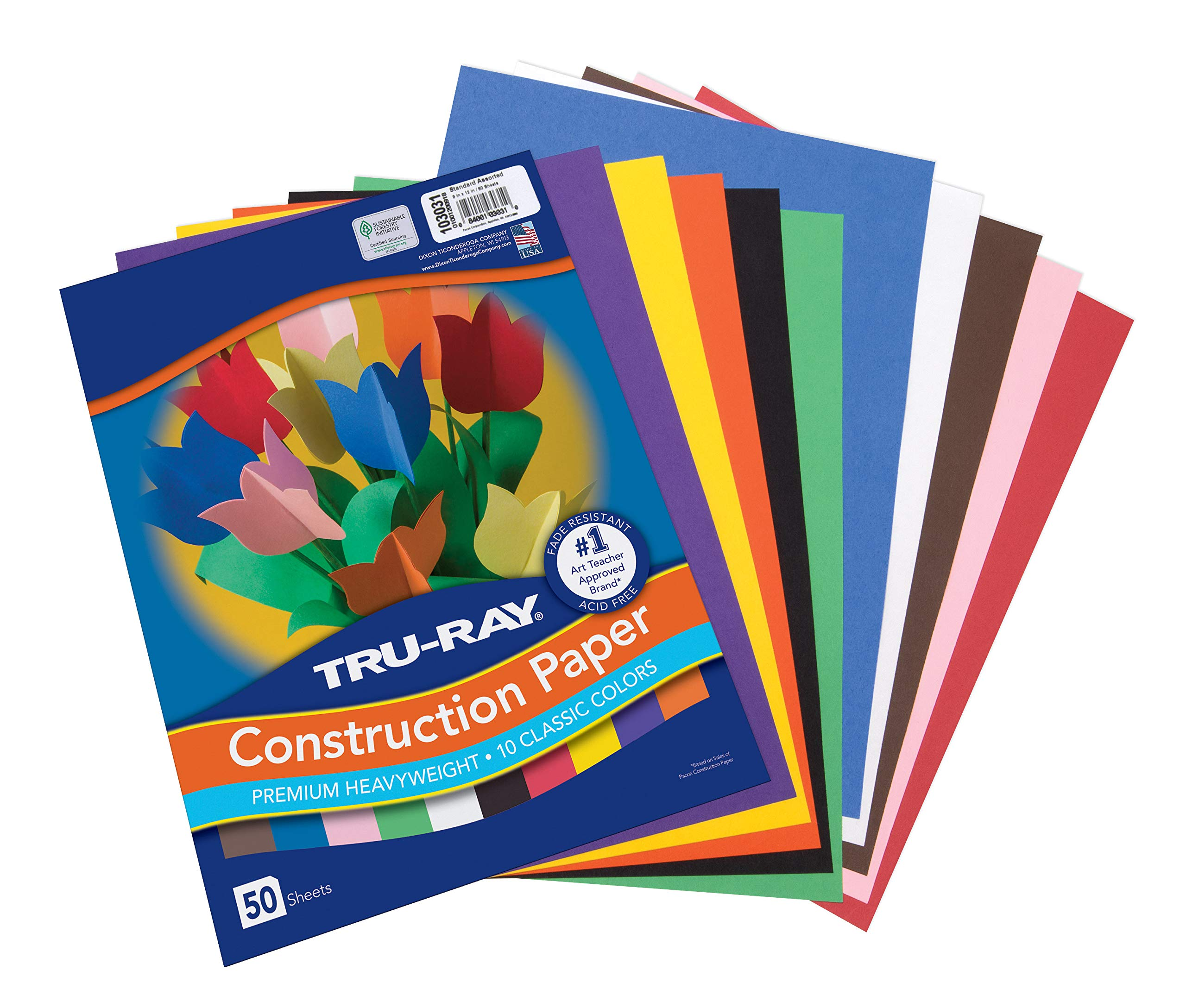 "Tru-Ray Construction Paper 10 Classic Colors 9"" x 12"" 50 Sheets"