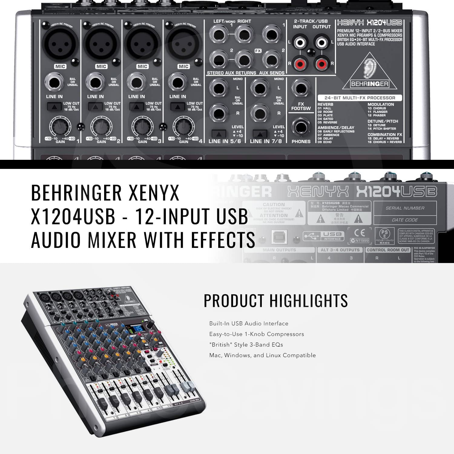 Behringer XENYX X1204USB 12-Input USB Audio Mixer with Effects and Basic Bundle