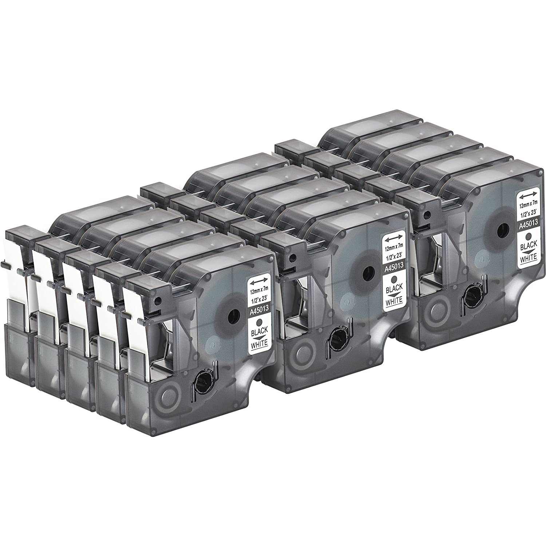 Schwarz auf Wei/ß 12mm x 7m f/ür LabelManager LabelPoint LabelWriter f/ür DYMO LabelPOINT /& LabelManager Multipack 2x Schriftband Kassette kompatibel f/ür Dymo D1 45013