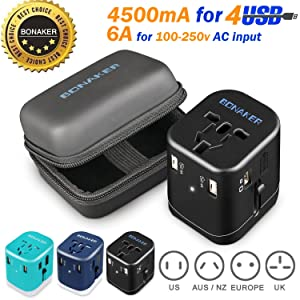 Bonaker Universal Travel Adapter Power Converters All-in-One International AC Plug Adapter Fast Charging Outlet with Smart 4 USB Ports(4.5A) for US UK AUS EU More Than 150 Countries in Black