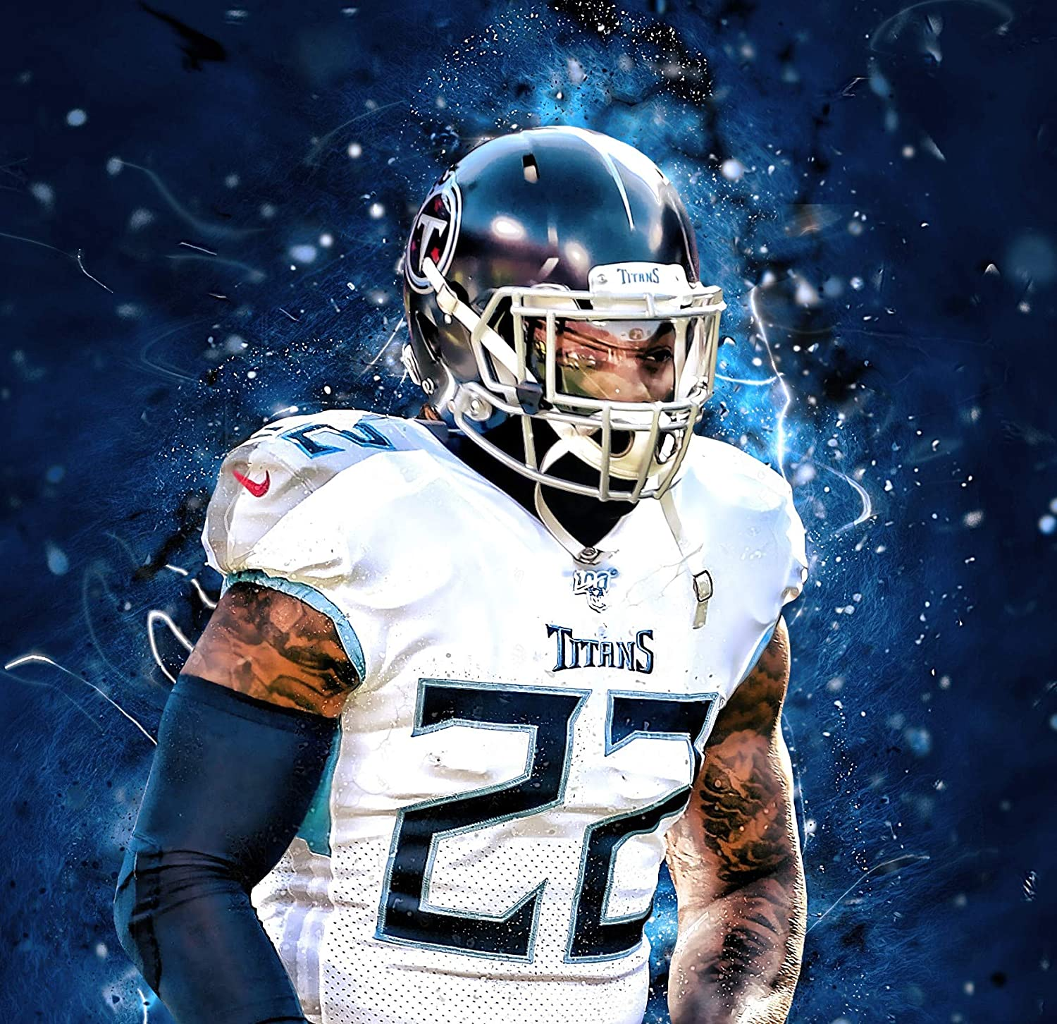 Derrick Henry Tennessee Titans Poster Print, American Football Player, Real Player, Derrick Henry Decor, Canvas Art, Posters for Wall SIZE 24''x32'' (61x81 cm)