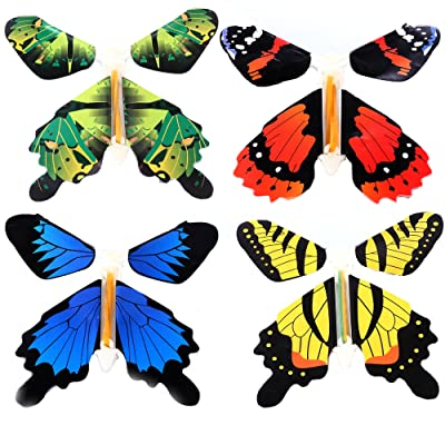 Gmai Flying Butterfly - Classic Wind Up Swallowtail Butterfly - Close Up Magic Set of,Fun Toy or Romatic Wedding (4pcs): Toys & Games