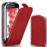Pochette OneFlow pour Samsung Galaxy S Duos / S Duos 2 housse Cover magnétique | Flip Case étui housse téléphone portable à rabat | Pochette téléphone portable téléphone portable protection bumper housse de protection avec coque en BLAZING-RED