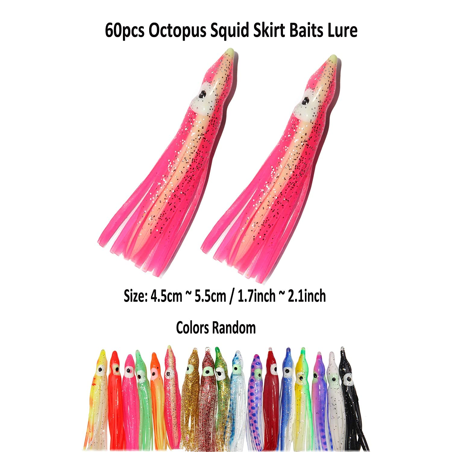 50pcs Squid Octopus Lures 1.97inch~4.72inch Trolling Jig Artificial Soft Plastic Lure Baits Assorted Color Hoochies Saltwater Fishing Lure