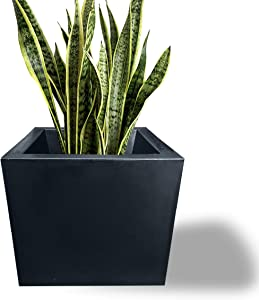 Elly Décor 16 inch Large Square Minimalist Garden Planter Pot with Drainage, Lightweight & Extremely Durable  for Patio Deck Indoor Outdoor Tree 14