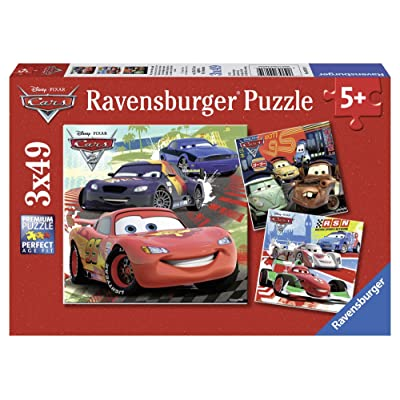Ravensburger Disney Cars: Worldwide Racing Fun 3 x 49-Piece Jigsaw Puzzle for Kids – Every Piece is Unique, Pieces Fit Together Perfectly: Toys & Games