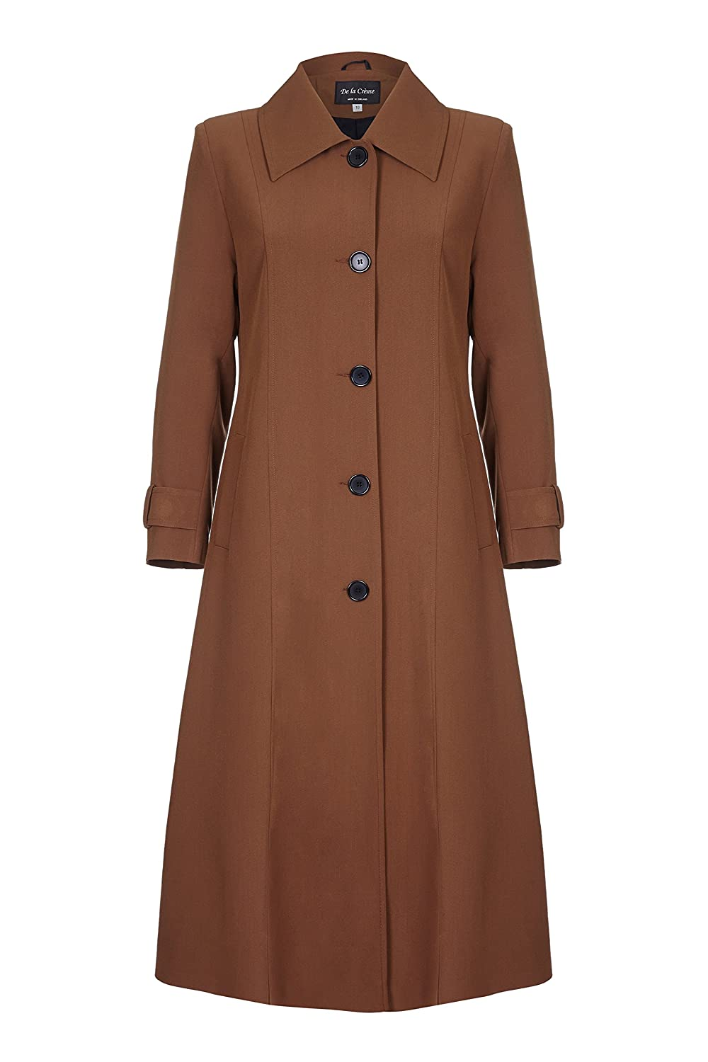 De La Creme - Womens Spring Long Raincoat Coat R10123-Parent