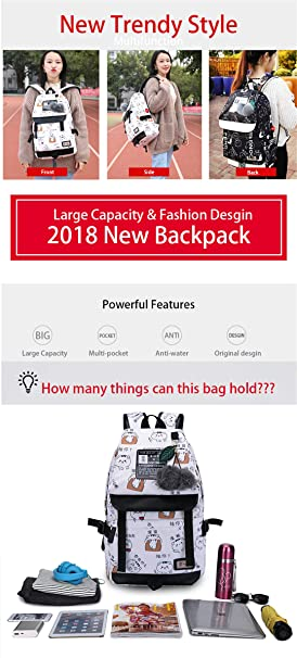 Amazon.com   Emoji Travel Pompom Student Bag Teenage Girls Best Travel Laptop Work Backpacks Female Bagpack blue face bag 42X30X16cm   Backpacks