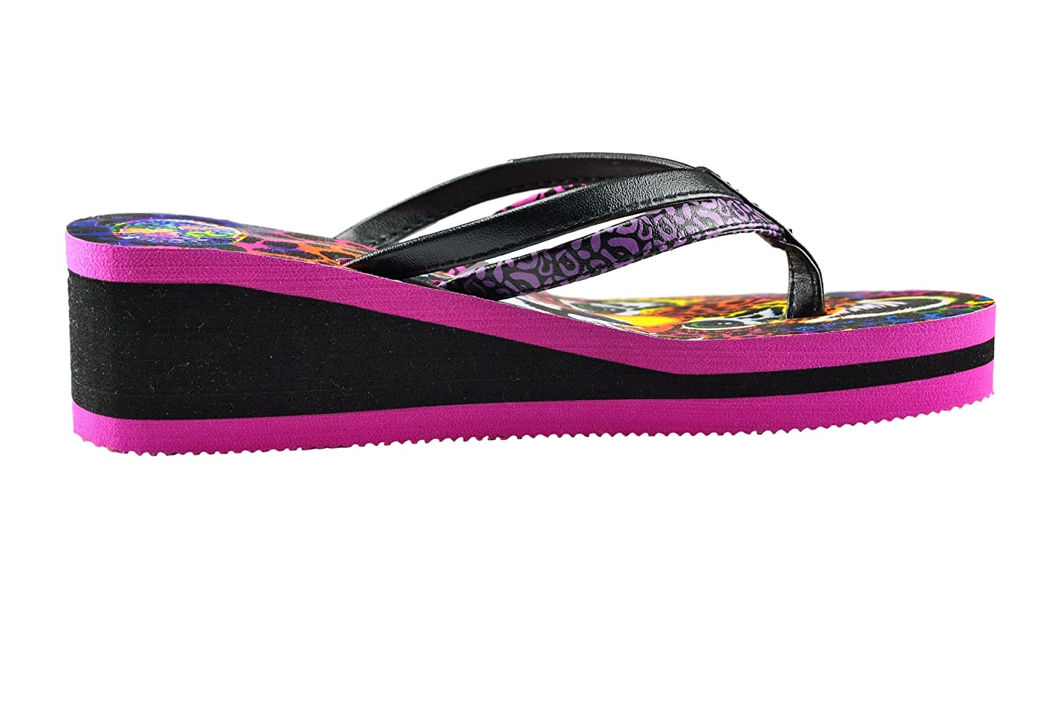 1c638c4d814312 Lisa Frank Girls Hunter Baby Cheetah Leopard Flip Flops With Elevated Heel   Amazon.co.uk  Shoes   Bags