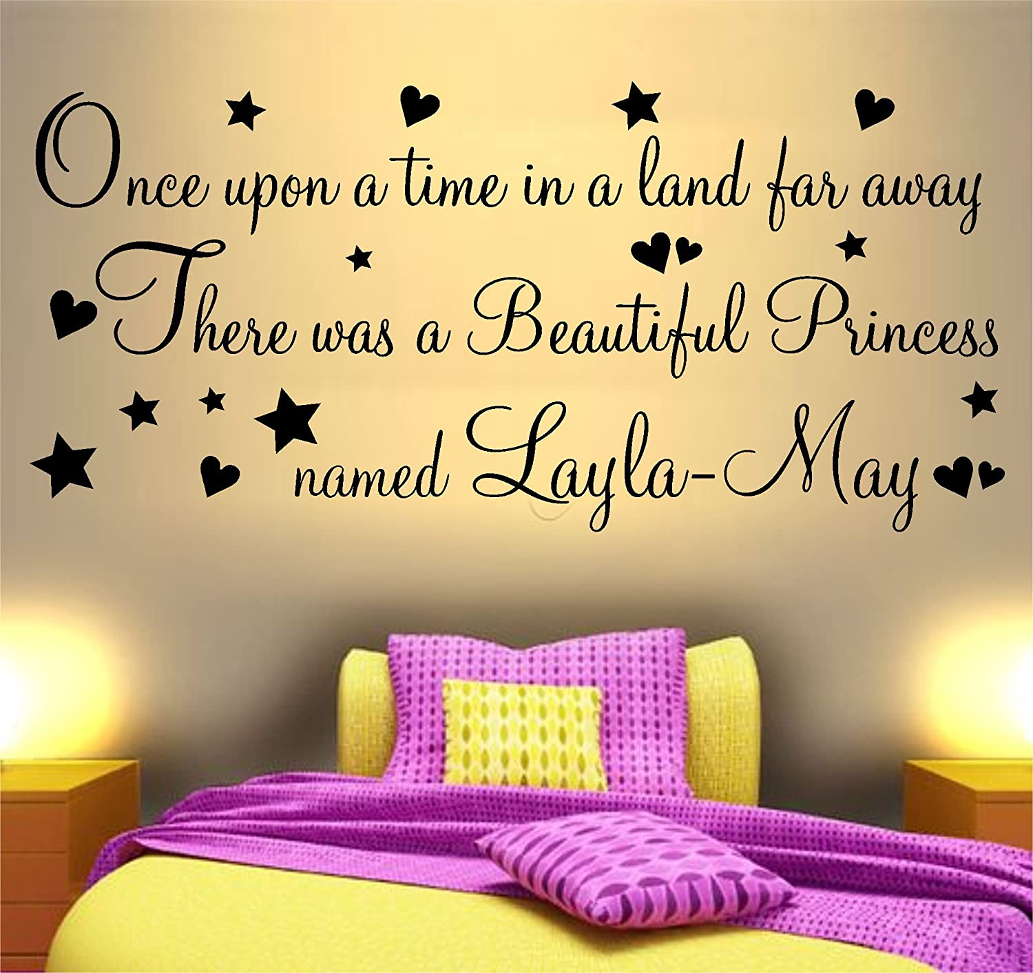 ONCE UPON A TIME BEAUTIFUL PRINCESS PRINCE WALL ART STICKER QUOTE ...
