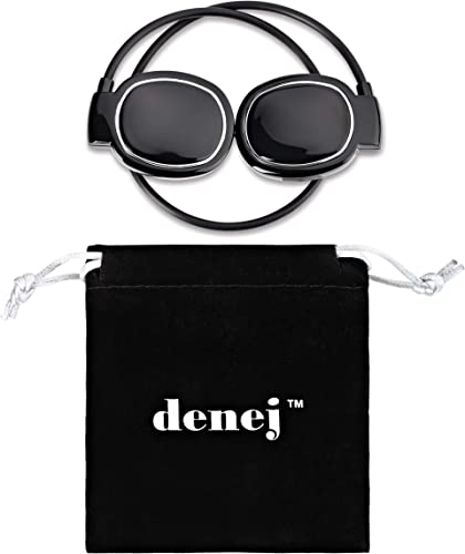 Denej Black Mini On Ear Bluetooth Neck Wireless Headphones Set Touch Pad Compact Behind The Head Cordless Sweatproof Headset for Gym, Running and Leisure. Crisp HD Audio,Microphone and Pouch.