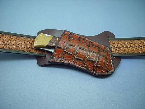 Amazon Com Leather Right Cross Draw Pocket Knife Sheath For A Buck