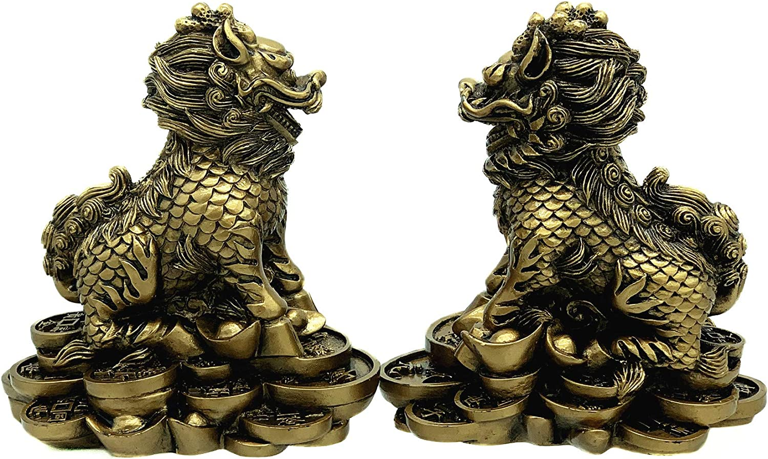 Chinese 5 brass ancient coins lucky wealth health Feng Shui protection charm EJB