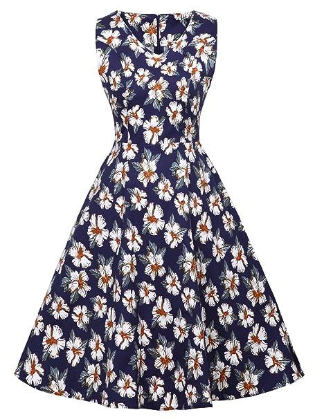 FAIRY COUPLE 1950S Vintage Rockabilly Lunares Vestido de Baile DRT072(4XL,Azul Marino Blancas