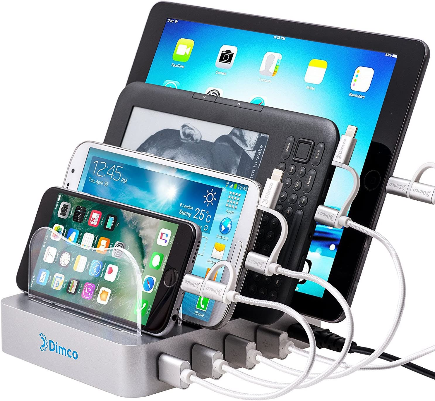 Dimco USB Fast Charging Station Compatible with Apple iPhone iPad Smart Charging Station Android 4 Port Multiple Charger Fire Tablet Micro USB