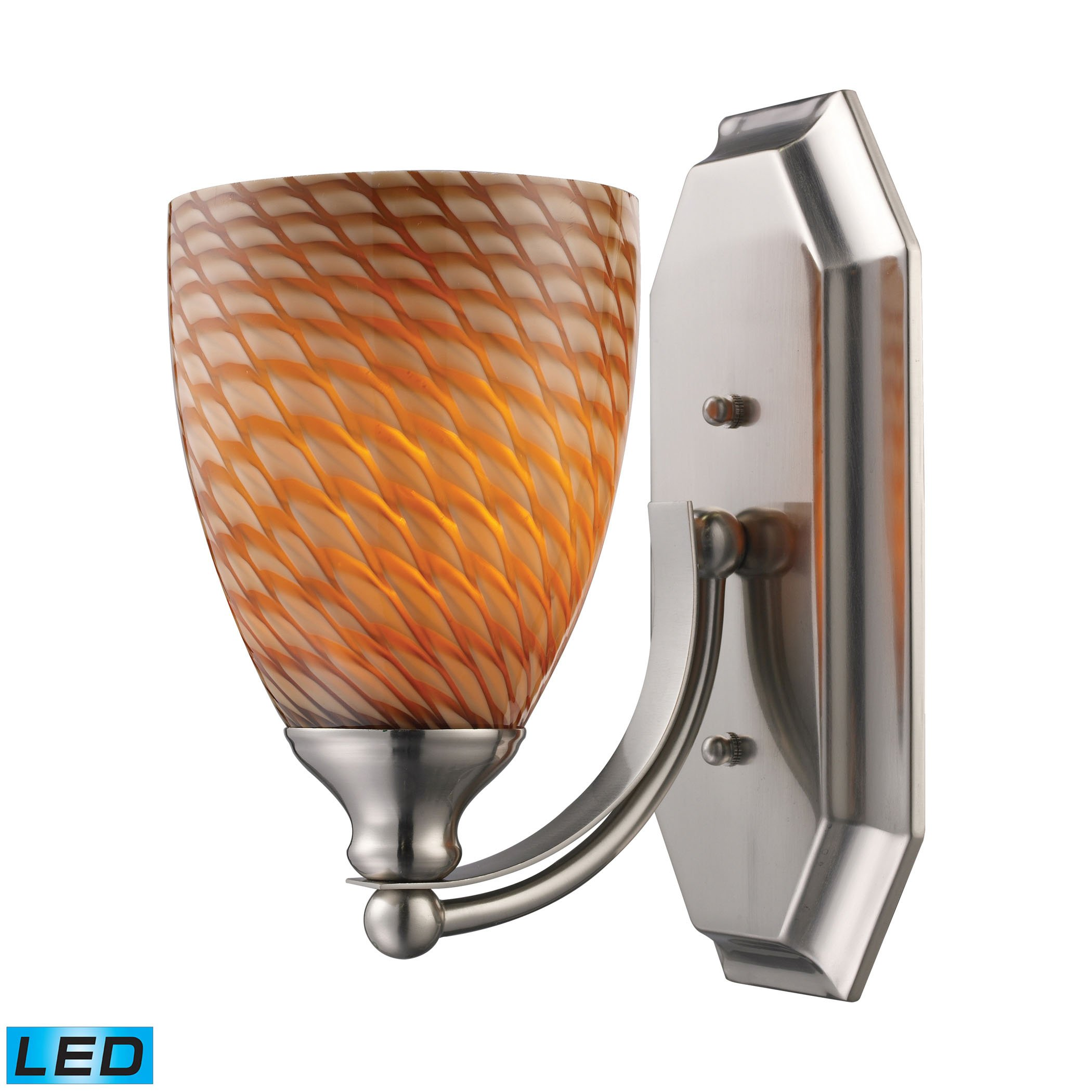 Alumbrada Collection Bath And Spa 1 Light LED Vanity In Satin Nickel And Cocoa Glass