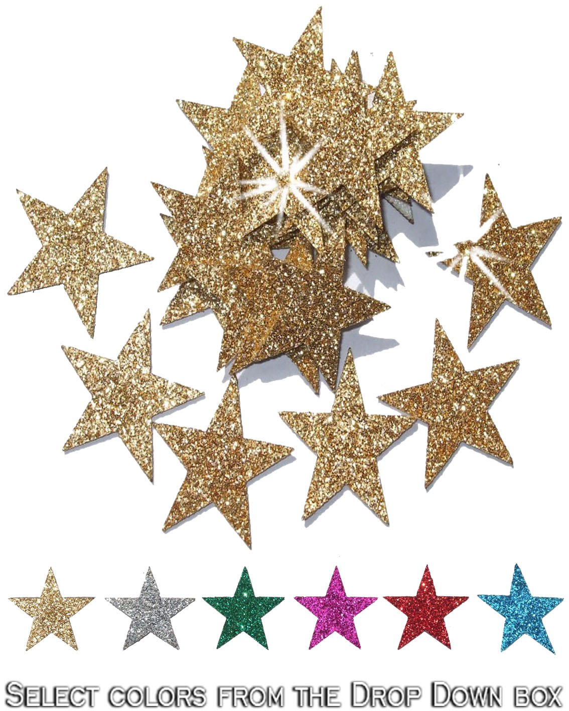 48 Gold Fabric Glitter 1 Inch 25mm Star Iron-On CrystalsRus