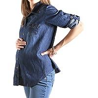 Mom 2 Be Blusa de Maternidad Tipo Jeans Azul Obscuro