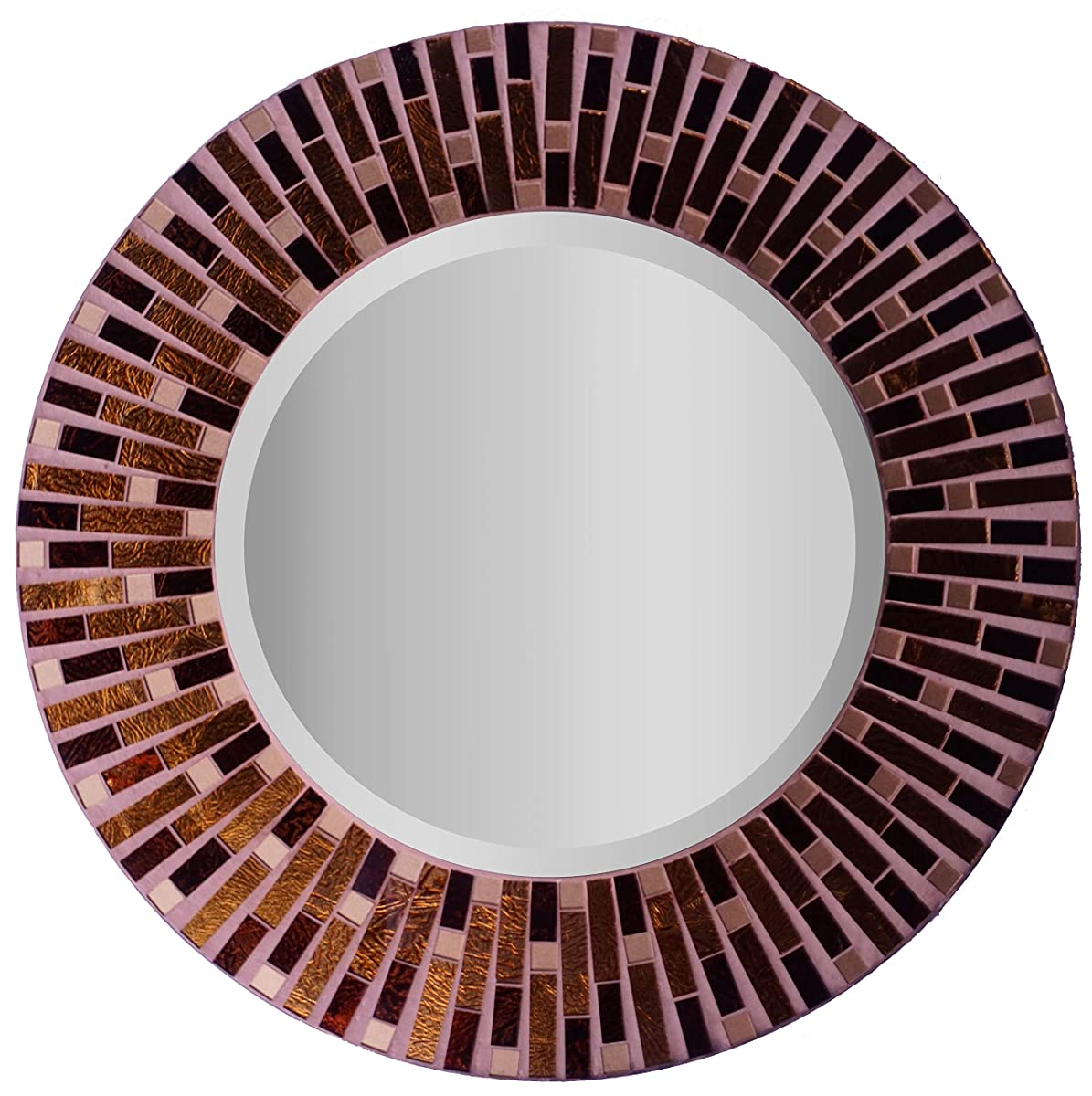 "LuLu Decor, Amber Rays Mosaic Wall Mirror, Decorative Beautiful Round Beveled Wall Mirror, Frame Measures 16"", Beveled Mirror Measures 9.5"" (LP84M)"