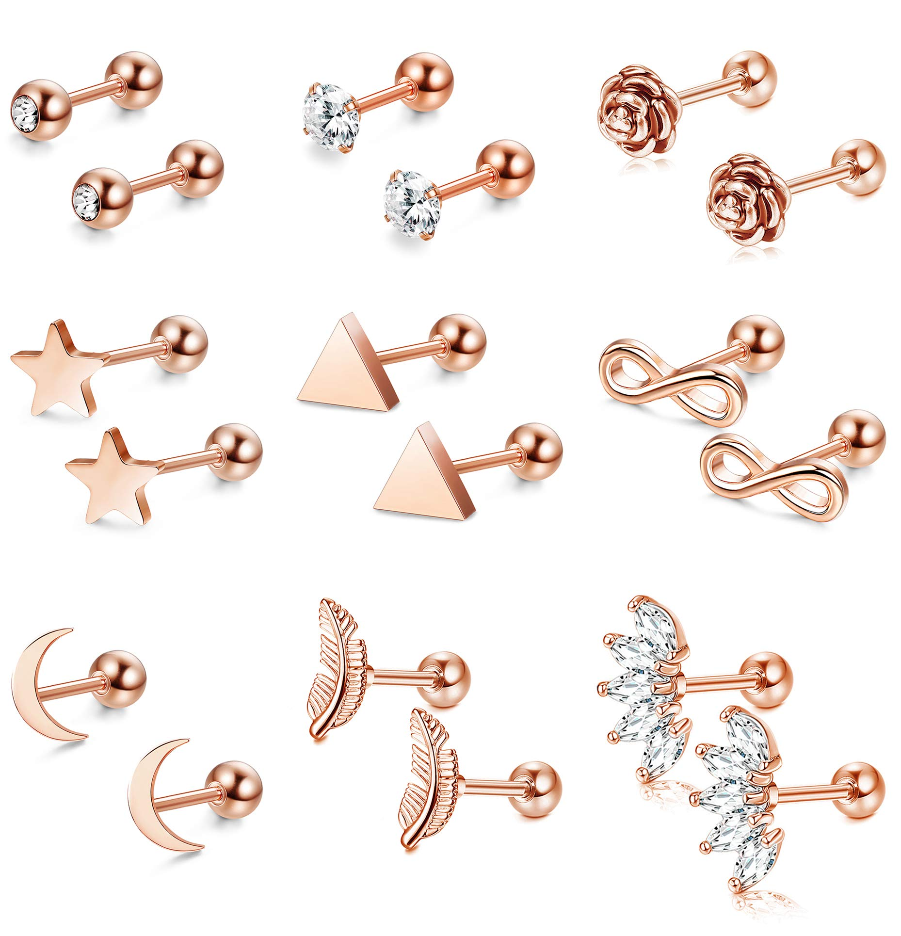 SAILIMUE 9 Pairs 16G Stainless Steel Ear Cartilage Earrings Tragus Helix Conch Piercing Jewelry Set Flower Feather Moon Triangle Star CZ Earrings for Women Girls by SAILIMUE