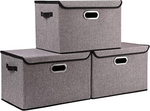 Tool Box Covers >> Seckon Collapsible Storage Box Container Bins With Lids Covers 3pack Large Odorless Linen Fabric Storage Organizers Cube With Metal Handles For