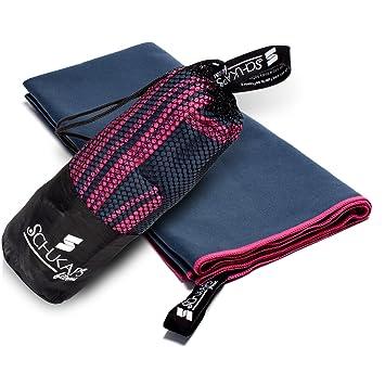 Toalla de Microfibra compacta y de secado rapido con bolsa para viajes - Deporte Piscina Playa