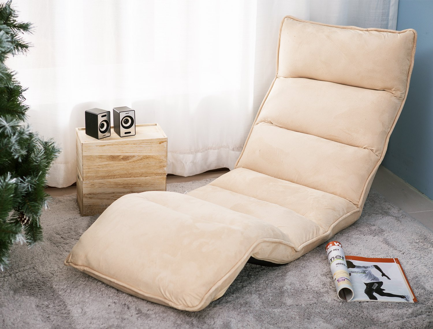 Merax Foldable Floor Chair Relaxing Lazy Sofa Bed Seat Couch Lounger (Beige)