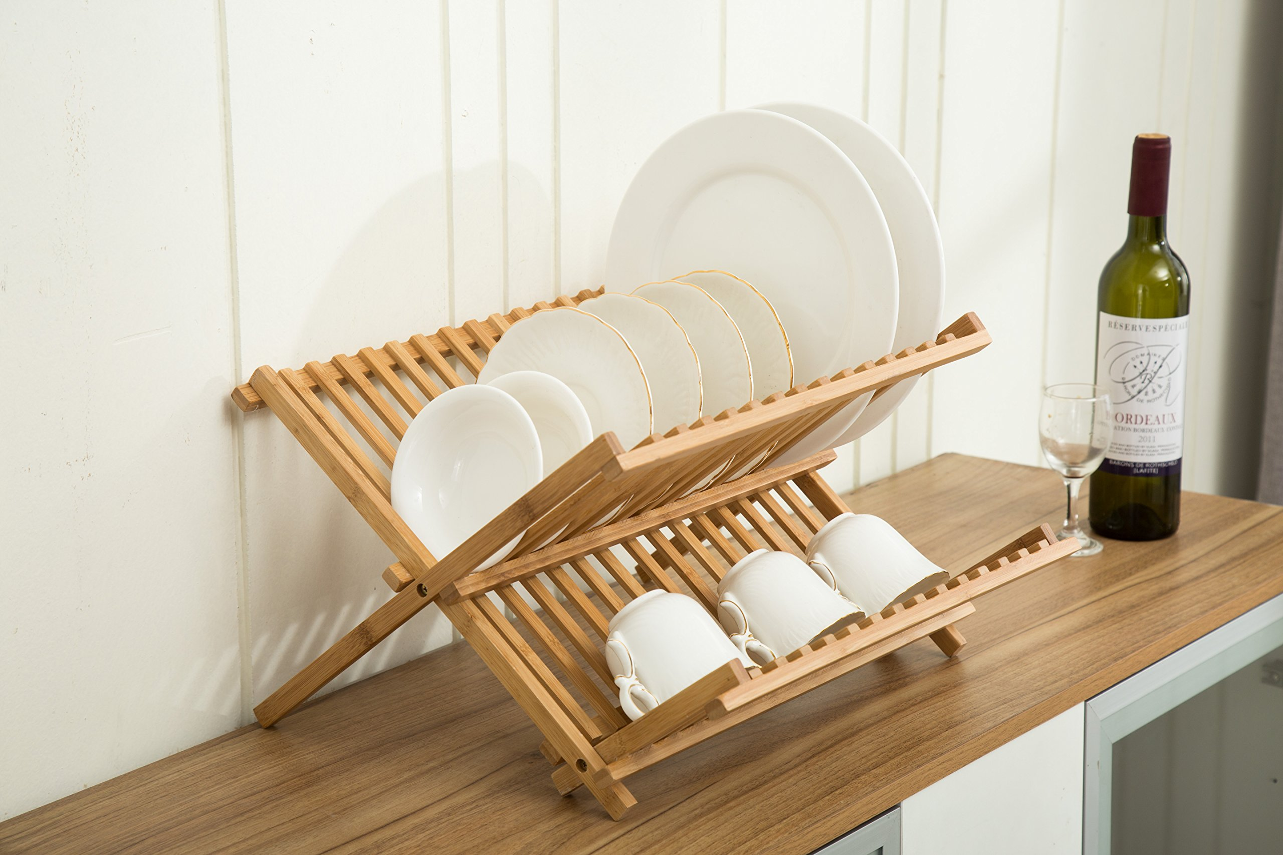 Dish Drying Rack Bamboo Premium Collapsible,for Holding Plates and Lower Shelf for Cups, Glass and Utensils,Holder Utensil Drainer