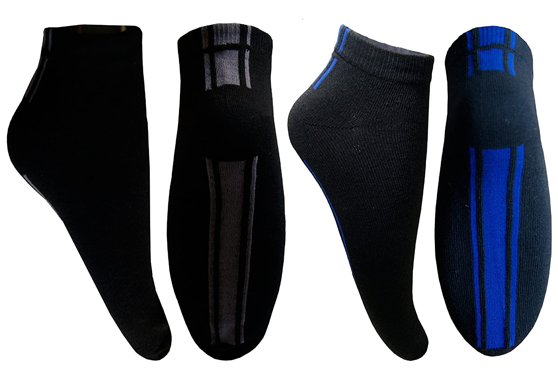 12 24 Paar Sneaker Socken Füßlinge Damen Herren Baumwolle Schwarz mit Blau Grau Streifen Uni von SGS