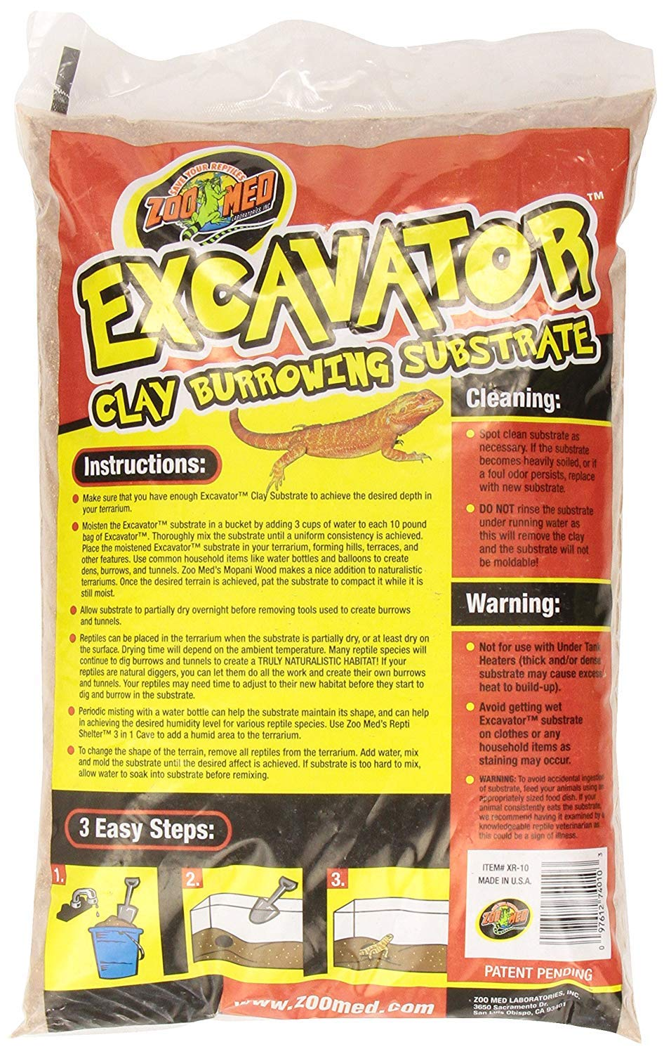 Zoo Med Excavator Clay Burrowing Substrate, 10 Pounds (3-Pack)