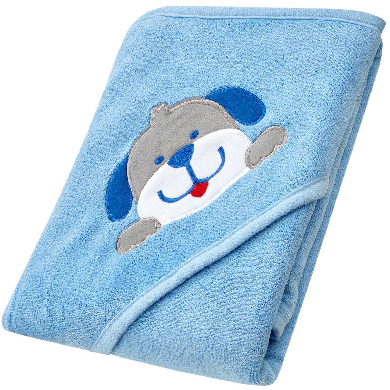 MIAS toalla con capucha para bebes, microfibra, azul claro, parche bordado en 3D