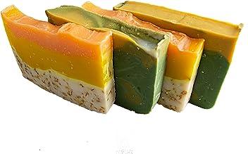 Citrus Soap Collection - 4(Four) 2Oz Guest Bars, Sample Size Soap -Natural Handmade Soaps with Orange Essential Oil. Orange Calendula and Avocado Soaps - Falls River Soap Company