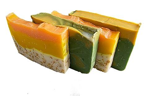 Citrus jabón Bar Set (4 bares) -Todos jabones para invitados con naranja aceite