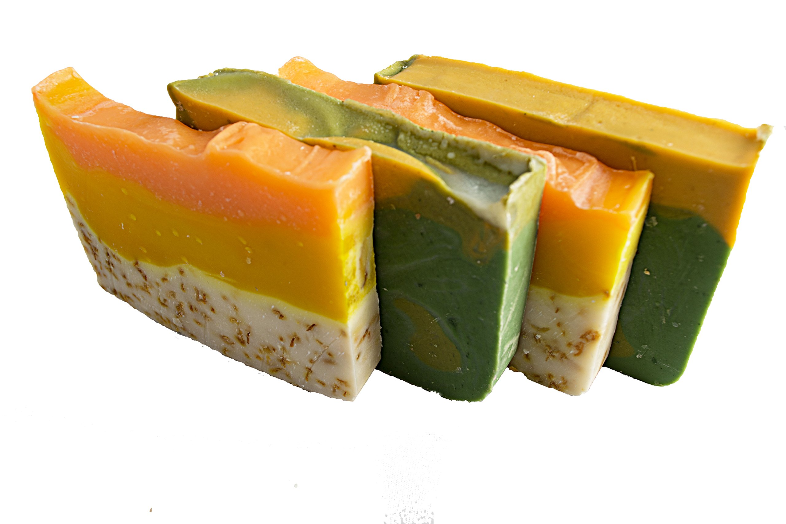 Falls River Soap Company Citrus Soap Collection - 4(Four) 2Oz Guest Bars, Sample Size Soap -Natural Handmade Soaps with Orange Essential Oil. Orange Calendula and Avocado Soaps
