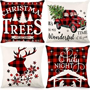 CDWERD Christmas Pillow Covers 18x18 Inches Christmas Decorations Black and Red Buffalo Plaid Throw Pillowcase Farmhouse Cushion Case for Home Decor Set of 4