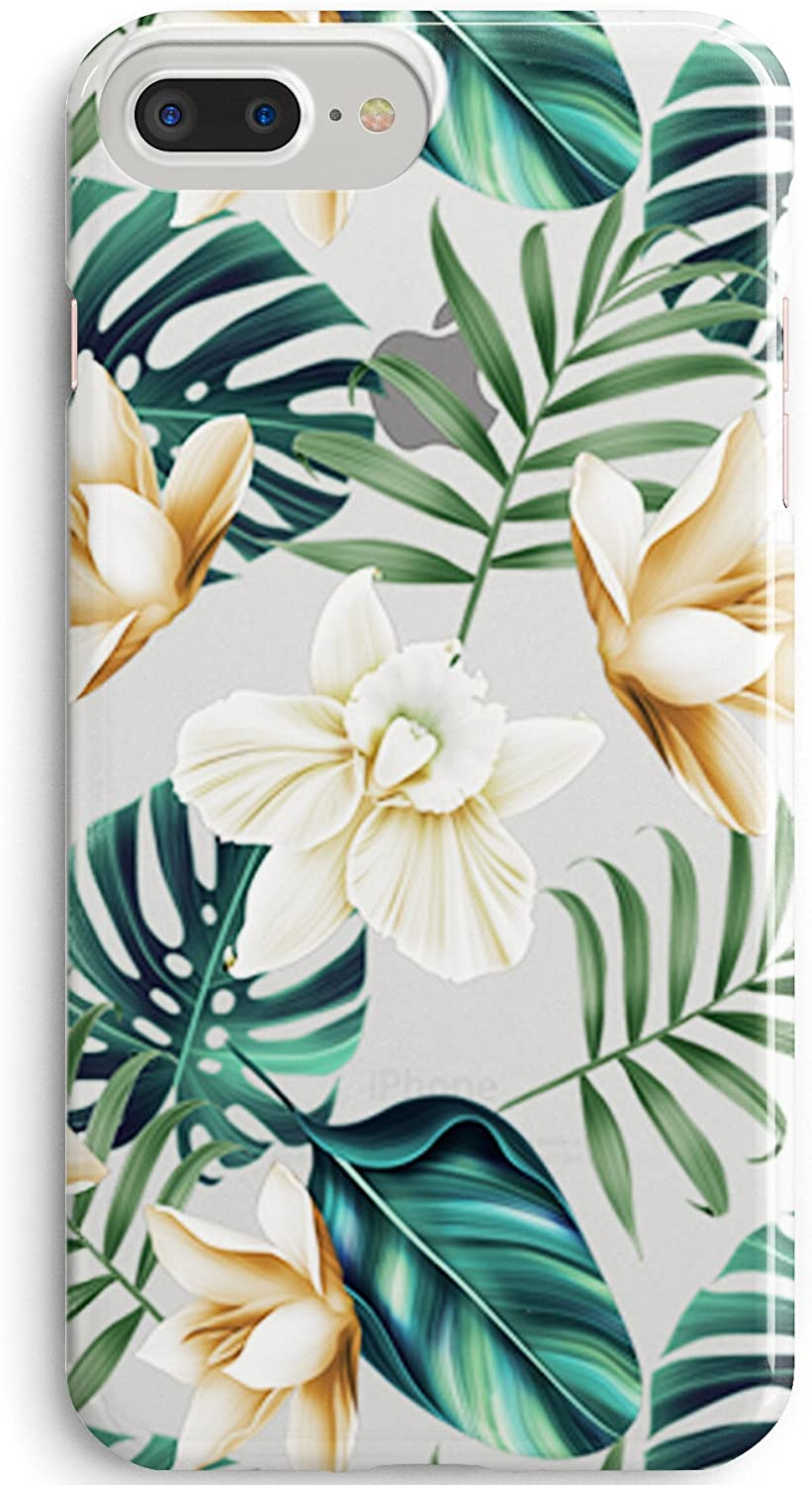 iPhone 8 Plus/iPhone 7 Plus Case,Cute Girls Flowers Coffee Floral Bahama Leaves Aloha Love Summer Tropical Japanese Cherry Blossom Roses Spring Elegant Clear Soft Case Compatible iPhone 7 Plus/8 Plus