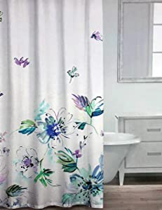 Caro Fabric Shower Curtain Watercolor Floral Pattern with Large Flowers in Shades of Purple Blue Green on White - Laila, Lavendar Aqua
